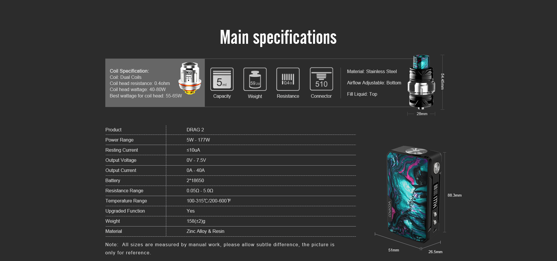 drag 2 main specification